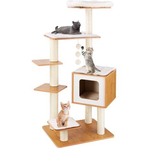 FIXKIT Arbre à Chat en bois, Griffoir Chats 100 % Sisal, avec Niche pour chats, 4 Plateformes, Tapis Amovibles et Lavables, 138 cm