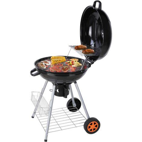 FIXKIT Barbecue à Charbon de Bois 22'' Ø 57 cm BBQ Grill Ronde en Émail Noir FUMOIR Smoker Mobile à roulettes Système d'aération avec Couvercle Réversible et Thermomètre intégré pour Camping au Jardin