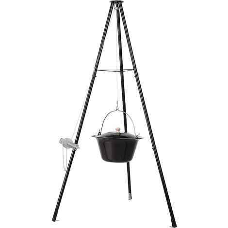 """main image of """"FIXKIT Barbecue Suspendu sur trépied, Pot de Goulash (10 L) avec Trépied (151 cm) et Chaîne Suspendue (250 cm), Set Marmite à Goulasch Réglable en Hauteur, Émaillé, Résistant aux Rayures"""""""