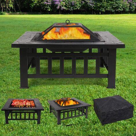 FIXKIT Brasero pour Jardin Terrasses BBQ Brasero Ménager Barbecue pour Fête et Foyer 81 * 81 * 44cm en Acier Noir Poêle Chauffant Brasero Foyer Four Carré (Brasero)