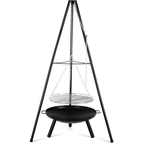 FIXKIT Gril Pivotant, avec Brasero Extérieur Ø60cm avec Grille Ø52cm, Trépied Télescopique de 1,52 m et Chaîne Réglable en Hauteur (200 cm) pour Cuisinière Suspendue Domestique ou Camping en Plein air