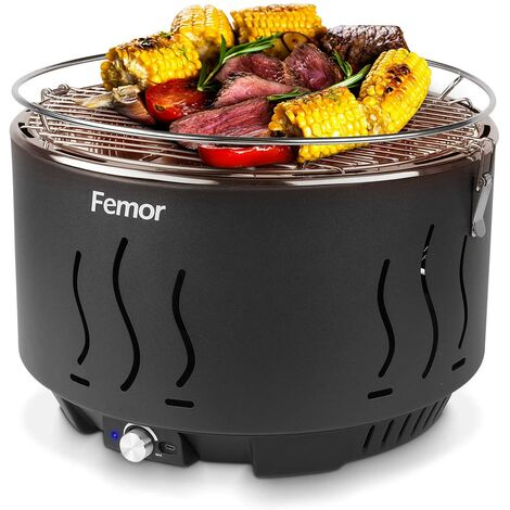 FIXKIT Grill Barbecue Portable, Barbecue au Charbon de Bois Sans Fumée,avec Sacs de Rangement et USB ou ventilateur à piles, 3 Minutes de Préchauffage, pour Famille, Jardin, Balcon, Camping, 35x35x25cm
