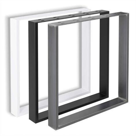 FIXKIT Lot de 2 Pieds de table en métal DIY pour tables à manger, bureaux, tables basses, bancs   Comprend noir, industriel et blanc   Facile à assembler.
