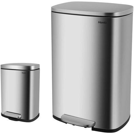 FIXKIT Poubelle de cuisine poubelle en acier inoxydable avec couvercle et seau intérieur poubelle à pédale pour hall d'exposition de bureau (50 + 5L)
