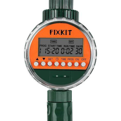 FIXKIT Programmateur d'Arrosage Automatique Minuterie, avec Capteur de Pluie, Affichage LED, Électrovannes, Protection Étanche IP68, Programmes d'arrosage Jusqu'à 30 Jours
