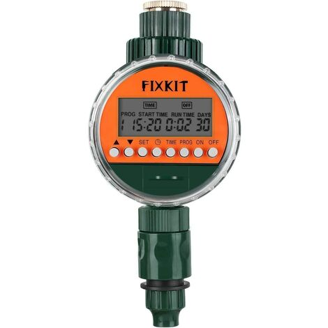 FIXKIT Programmateur d'Arrosage Automatique Minuterie, Électrovannes, Affichage Étanche LED, Couvercle de Protection Étanche IP68, Programmes d'arrosage Jusqu'à 30 Jours, pour Jardinage, Balcon