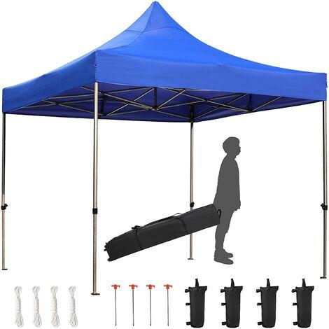 """main image of """"FIXKIT Tente 3x3m, Tente pliante étanche, tente portable anti-UV, Empêche l'accumulation d'eau, avec cadre en acier renforcé, hauteur réglable, 4 sacs de sable et sac"""""""