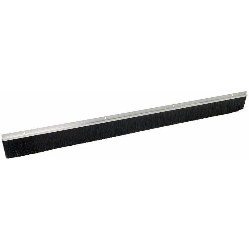 Image of 2 X Aluminium Garage Door Strip Draught Excluder Brush 1067mm Length 50mm Bristles - Pack of 2 (2134mm) - Fixman