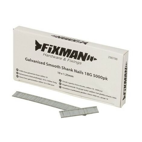 Fixman 298788 Galvanised Smooth Shank Nails 18G 10 x 1.25mm Pack of 5000