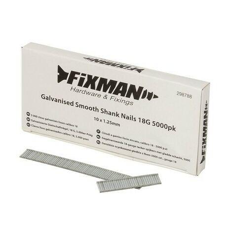 Fixman 298788 Galvanised Smooth Shank Nails 18G 5000pk 10 x 1.25mm