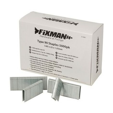 Fixman 312861 Type 90 Staples 5.85 x 22 x 1.25mm Pack of 5000