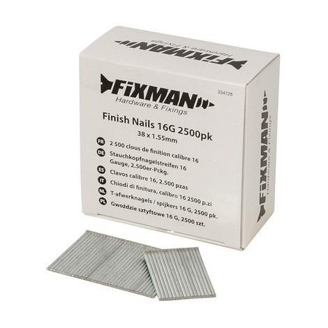 Fixman 334728 Finish Nails 16G 38 x 1.55mm Pack of 2500