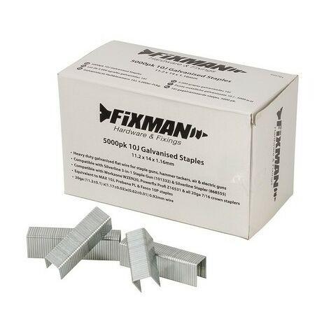 Fixman 455701 10J Galvanised Staples 11.2 x 14 x 1.16mm Pack of 5000