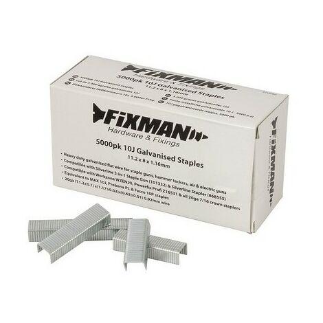 Fixman 470282 10J Galvanised Staples 5000pk 11.2 x 8 x 1.17mm