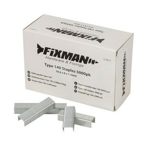 Fixman 516813 Type 140 Staples 10.6 x 8 x 1.2mm Pack of 5000