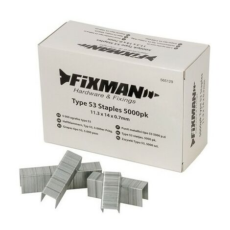 Fixman 565129 Type 53 Staples 11.3 x 14 x 0.7mm Pack of 5000