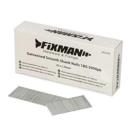 Fixman 585359 Galvanised Smooth Shank Nails 18G 25 x 1.25mm Pack of 5000