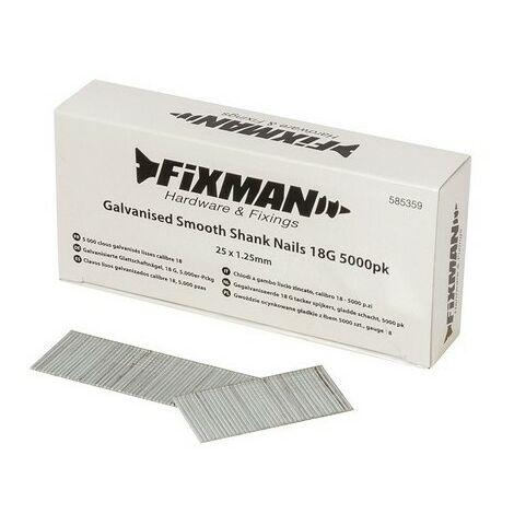 Fixman 585359 Galvanised Smooth Shank Nails 18G 5000pk 25 x 1.25mm