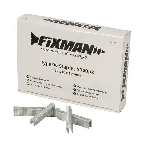 Fixman 715197 Type 90 Staples 5.85 x 10 x 1.25mm Pack of 5000
