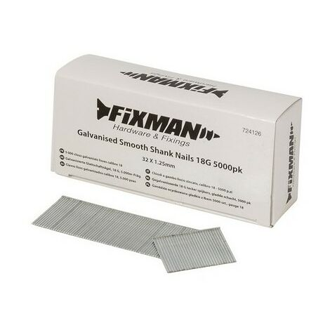 Fixman 724126 Galvanised Smooth Shank Nails 18G 32 x 1.25mm Pack of 5000