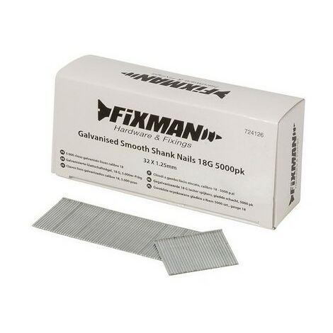 Fixman 724126 Galvanised Smooth Shank Nails 18G 5000pk 32 x 1.25mm