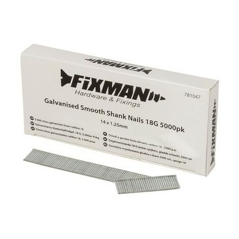 Fixman 781047 Galvanised Smooth Shank Nails 18G 14 x 1.25mm Pack of 5000