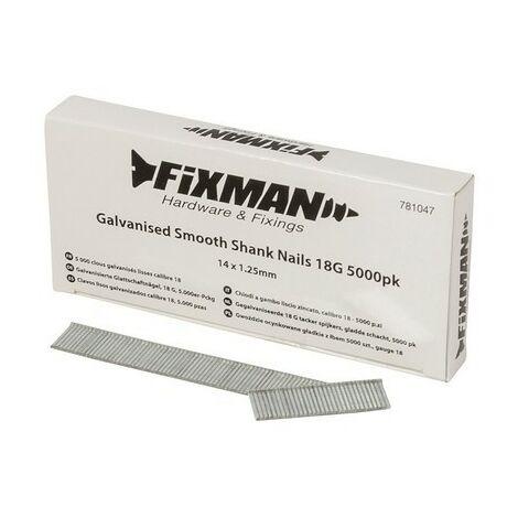 Fixman 781047 Galvanised Smooth Shank Nails 18G 5000pk 14 x 1.25mm