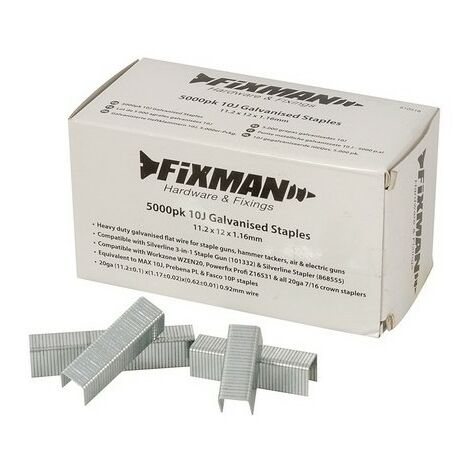 Fixman 810318 10J Galvanised Staples 11.2 x 12 x 1.16mm Pack of 5000