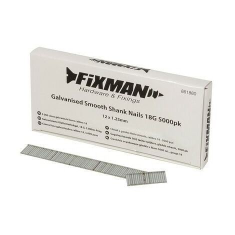 Fixman 861880 Galvanised Smooth Shank Nails 18G 5000pk 12 x 1.25mm