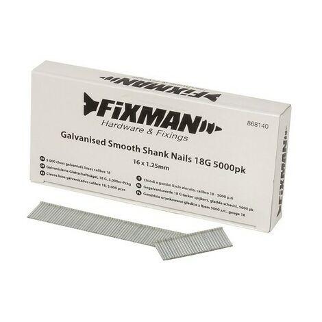 Fixman 868140 Galvanised Smooth Shank Nails 18G 5000pk 16 x 1.25mm