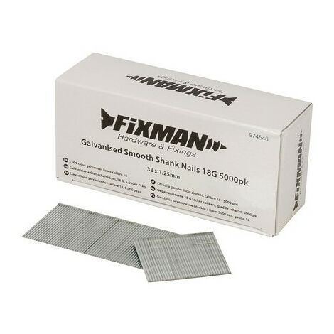 Fixman 974546 Galvanised Smooth Shank Nails 18G 38 x 1.25mm Pack of 5000