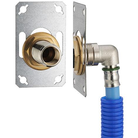 FIXSYSTEM simple : kit complet de fixation d'un robinet mural simple M1/2' (15x21) Coude d'alimentation à sertir profil TH sur tube PER NOYON & THIEBAULT - Ø 16 mm, sortie femelle 1/2' (15x21) - 3327-16PL1