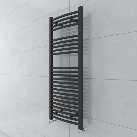Fjord 1200 x 450mm Curved Grey Towel Radiator