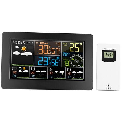 FJW4 WiFi ecran couleur multifonction thermometre et hygrometre interieur et exterieur petit standard europeen 220-240V (livre sans batterie)