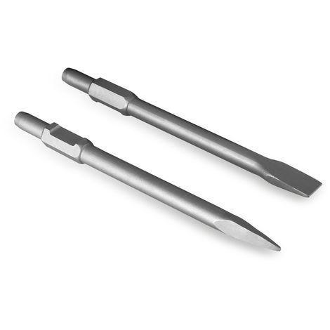 Flachmeißel und Spitzmeißel SET (390x30mm, passend für Abbruchhammer mit 30mm SDS HEX Sechskant Aufnahme)