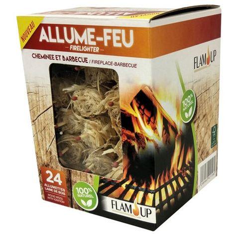 FLAM UP - Allume-feu allumettes de laine de bois - lot de 24
