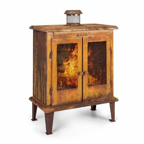 Flame Locker braséro cheminée de jardin vintage 58x30cm acier, effet rouille