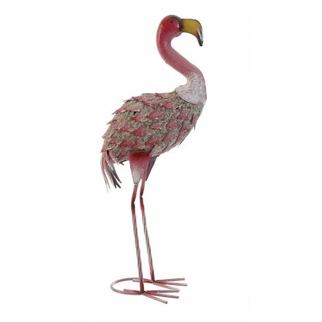Flamenco Rosa Figura Decorativa de Metal, Diseño Animal/Original. Ideal para Decorar 22X14X51 cm