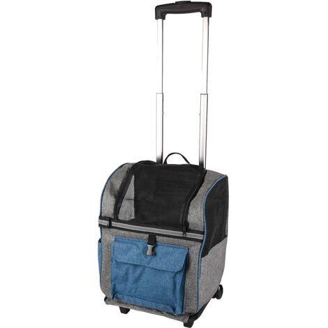 FLAMINGO Carro y mochila para mascotas 2 en 1 Kiara 517743 - Blu