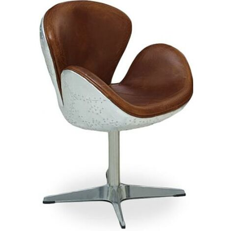Flamingo Chair Aviator Armchair - Microfiber Aged Leather Effect Brown