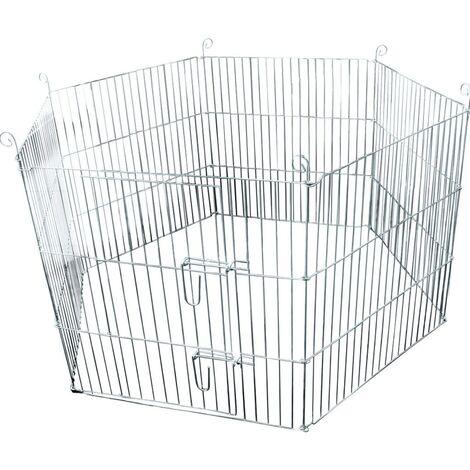 FLAMINGO Jaula para conejos exterior Hexágono 60x60cm - Plateado