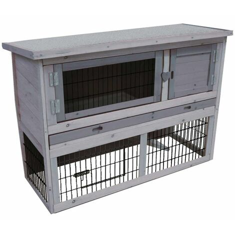 FLAMINGO Rabbit Hutch Loft Cottage 111x45x78 cm 201906 - Grey