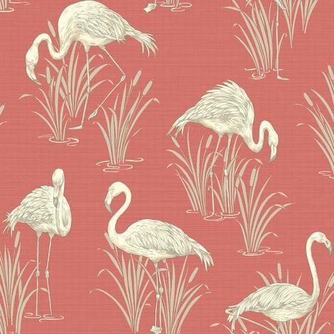 Flamingo Wallpaper Birds Animals Tropical Luxury Textured Vinyl Lagoon Arthouse