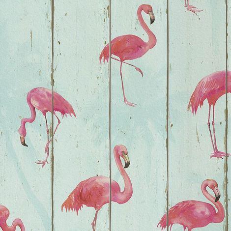 Flamingos Wallpaper Animal Print Washable Textured Vinyl Pink Aqua Teal Rasch
