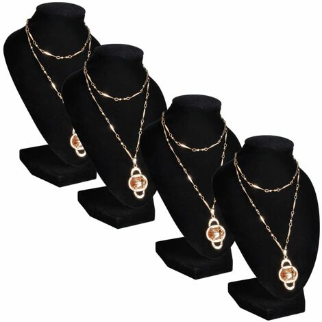 Flannel Jewelry Holder Necklace Bust Black 9 x 8.5 x 15 cm 4 pcs - Black