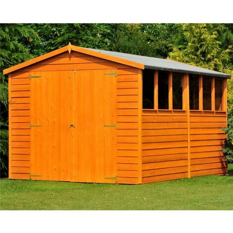 ** FLASH REDUCTION** 10 x 8 (2.99m x 2.39m) - Dip Treated Overlap - Apex Garden Shed - 6 Windows - Double Doors - 11mm Solid OSB Floor - CORE (BS)