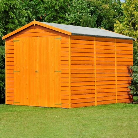 ** FLASH REDUCTION** 10 x 8 (2.99m x 2.39m) Windowless Dip Treated Overlap - Apex Garden Shed - Double Doors - 11mm Solid OSB Floor - CORE (BS)