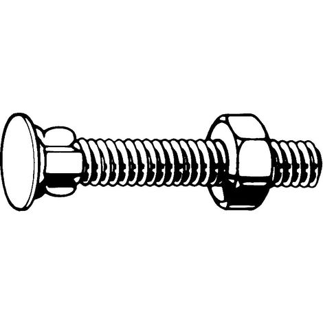 Flat countersunk wing neck bolt with hexagon nut Steel Zinc plated 4.6