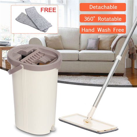 Flat Mop And Bucket System With 2 Washable Microfiber Flat Mop Pads, Hand-Spun Floor Cleaning Mop Use On Hardwood, Laminate, Tile, etc.