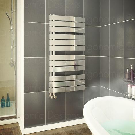 Flat Panel 1080 X 550 Mm Bathroom Chrome Designer Towel Rail Radiator
